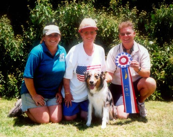 Finn earning his ADCH, July 4, 2005 with Mia, Betty & Judge Tom Kula